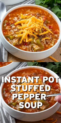 Instant Pot Stuffed Pepper Soup is a delicious soup that is stuffed with ground beef, rice, peppers, onions in a seasoned tomato-based broth! recipes with ground beef Beef Recipe Instant Pot, Instant Pot Dinner Recipes, Instant Pot Meals, Instant Pot Pressure Cooker, Pressure Cooker Recipes, Slow Cooker, Whole30, Ground Beef Recipes Easy, Beef Recipes