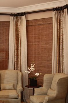 Window idea -espresso rod at top, pinch pleat drapes, clip rings, bamboo blinds slightly lower
