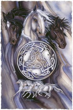Bergsma Gallery Press :: Paintings :: Art With Symbols :: Celtic :: Legend - Prints Native Art, Native American Art, Beautiful Horses, Animals Beautiful, Horse Artwork, Horse Paintings, Pastel Paintings, Animal Spirit Guides, Desenho Tattoo
