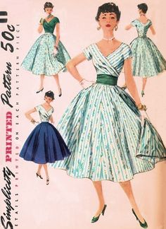 1950s BEAUTIFUL DEEP V NECKLINE BLOUSE, SKIRT, CUMMERBUND PATTERN LOVELY STYLE SIMPLICITY 1123. (too puffy)
