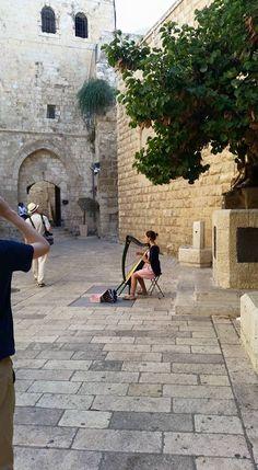 Harpist playing inside Zion Gate, Jerusalem, Israel...