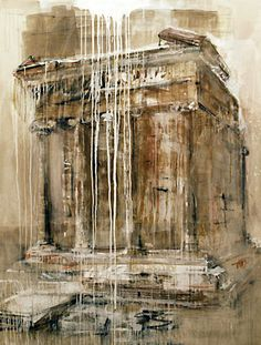 The dripping paint over the top of the painting looks effective and contrasts to the more detailed painting of the building itself. (Valery Koshlyakov, Temple of Nika) Urban Landscape, Landscape Art, Landscape Paintings, Landscapes, Urban Architecture, Building Art, A Level Art, Architectural Features, Gcse Art