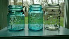 Trio of Jars Ball Ideal Perfect Mason Atlas E-Z Seal | Collectibles, Bottles & Insulators, Bottles | eBay!