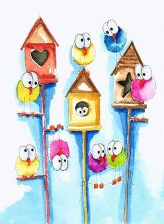 Colours - New Deko Sites Bird Doodle, Doodle Art, Bird Drawings, Cartoon Drawings, Watercolor Cards, Watercolor Paintings, Illustration Mignonne, Happy Paintings, Whimsical Art