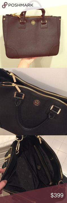 "Tory Burch Large Black Robinson Tote Saffiano leather. Taken a few times, perfect condition. This bag is a little older and from what I can see online, it's sold out! Extremely spacious and fits laptops. Removable and VERY adjustable shoulder/cross body strap. Handle drop=5"". L=13"", H=10"", W=5.5"". Tory Burch Bags Totes"