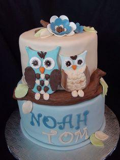 owl baptism cake