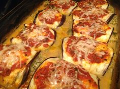 Tried eggplant for the first time! Tasted just like lasagna! Stuffed with lean ground chicken, spinach, fresh veggies,like tomatoes, mushrooms, onions and garlic! Yum!