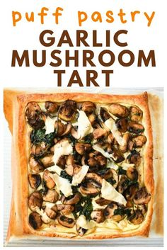 A simple puff pastry tart topped with thyme scented garlic mushrooms and spinach. A simple puff pastry tart topped with thyme scented garlic mushrooms and spinach. Suitable for vegetarians and vegan Puff Pastry Recipes Savory, Spinach Puff Pastry, Tart Recipes, Veggie Recipes, Cooking Recipes, Spinach Tart, Puff Pastry Pizza, Pizza Recipes, Puff Pastry Appetizers