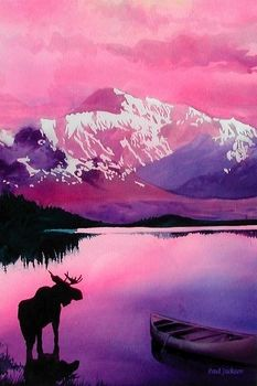 """Majesty"" Moose Wildlife Watercolor, Paul Jackson - The purple mountains and late-in-the-day sky are reflected in a high mountain lake, a sight admired by a visiting moose. This striking Paul Jackson watercolor is one of a series by the artist featuring wildlife."