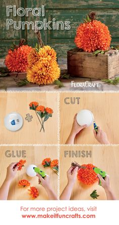 Use FloraCraft's white styrofoam balls to make these adorable floral pumpkins!