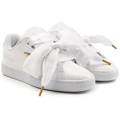 Puma Sneakers (€73) ❤ liked on Polyvore featuring shoes, sneakers, sapatos, white, puma shoes, puma footwear, heart shoes, white leather shoes and leather shoes