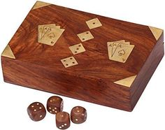 SouvNear Handmade 7 inches Poker Game Card Holder  Wooden Dice  Playing Card Box with 2 Storage Slots Case Casket  Perfect Family  Kids Game >>> Click image to review more details. Note:It is Affiliate Link to Amazon.