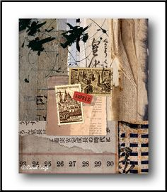 "by Carol Leigh artist ""From Books""....her notes....vintage postage stamps, old books, ledger paper, ink, and even a fishing boat reflection make their way into this piece."