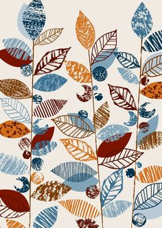 iheartprintsandpatterns: I ♥ Etsy - Eloise Renouf This would be fun to combine with real and stamped leaves.