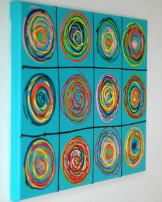 Acryl Kunst auf Leinwand POP ART Abstrakt Bild GEMÄLDE Silberstreif 40x30