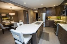Vital kitchen had a U-shaped design that cut off half the room. After our home renovation, the kitchen doubled in size and usable space Kitchen Renovations, Home Renovation, Kitchen Design, Construction, Table, Room, Furniture, Home Decor, Building