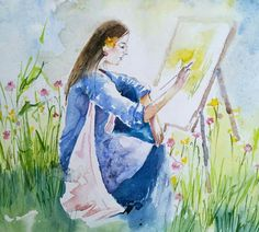 Aarti Tushar  Title : Yellow Dream   Watercolor on paper
