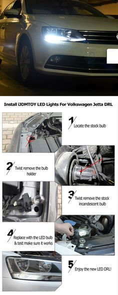 Quick visual guide to show you how to install LED daytime running lights on the 2011-2015 Volkswagen Jetta. These LED DRL are powered by 68-SMD LED to give you a super bright and unparalled output. If you want a pair, visit: http://store.ijdmtoy.com/Volkswagen-Jetta-LED-Daytime-Running-Light-p/20-074.htm  #Volkswagen #Jetta #DRL #LEDDRL #daytimerunninglights #installation #infographics #Euro #Europeancars #carparts