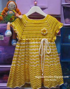 Magia do Crochet: Vestido em crochet para menina, alegre e colorido