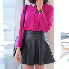 Sexy Ladies PU Leather Mini A-line Skirts 2016 Autumn Vinter Women Fashion Vintage Casual High Waist Solid Skirt