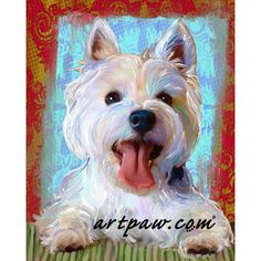 West Highland Terrier Print Westie on Canvas by artpaw on Etsy