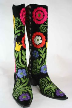 Suzani Cowboy Boots are hand made in Turkey using a traditional Uzbek technique of boot-making.