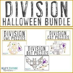 DIVISION Halloween Math Games BUNDLE - Choose from 12 puzzle options! | 3rd, 4th, 5th grade, Activities, Basic Operations, Games, Halloween, Homeschool, Math, Math Centers