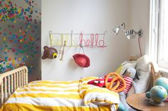 Project Idea:Personalized Colorful Wire Coat Rack — Oh Happy Day  Except... not for a kid's room.