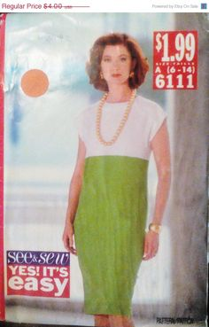 50% OFF SALE Sewing Pattern 1990s See and by SewYesterdayPatterns (Craft Supplies & Tools, Patterns & Tutorials, Sewing & Needlecraft, Sewing, sewing pattern, commercial, craft supplies, butterick pattern, sewing supplies, collectibles, vintage pattern, size 6 8 10 12 14, womens dress pattern, misses dress pattern, 90s dress pattern, butterick 6111, plus size pattern)