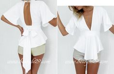 Top fashion blanc noeud long ruban dans le dos - bestyle29.com