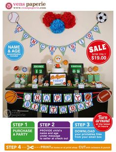 Sport Birthday Party Package Personalized FULL Collection Set
