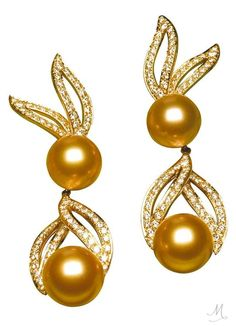 Golden Pearl and Diamond Earrings by Jewelmer