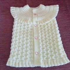 This Pin was discovered by Hül Baby Knitting Patterns, Crochet Patterns For Beginners, Baby Patterns, Diy Crafts Dress, Diy Dress, Embroidery Neck Designs, Baby Pullover, Moda Emo, Baby Vest