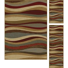 Tonal waves of color swirl together in this area rug to form a relaxing pattern. In shades of red, greyish blue, beige, brown and terra. Made of easy to clean polypropylene. Vacuum regularly and spot