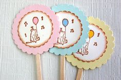 Winnie the Pooh Cupcake Toppers -Set of 12 (Vintage Winnie the Pooh Birthday Party Decor/ Baby Shower) on Etsy, $12.95