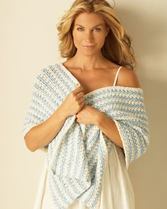 Use this free crochet shawl pattern to create a subtly striped wrap. The shawl is quick and easy, worked lengthwise on a large hook.The bamboo yarn is silky smooth and will transition into warmer weather.