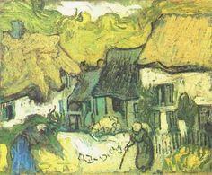 """Painting """"Huizen met rieten daken in Jorgus"""" by Vincent van Gogh - www.schilderijen.nu"""
