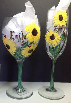 Custom Painted Sunflower Wine Glass by HANDPAINTEDBYCYNDIE on Etsy