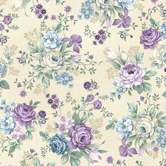 Lavender Blue Large Floral Linen Twilight Garden Mary
