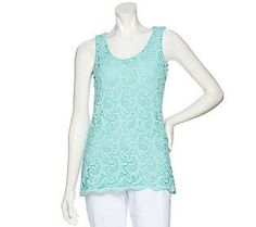 Kelly by Clinton Kelly Sleeveless Lace Front Knit Top