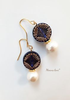 ハンドメイドマーケット+minne(ミンネ)|+コットンパールとドイツビーズ(ブルー)ピアス Minne, Handmade Accessories, Diy And Crafts, Jewelry Making, Drop Earrings, Pearls, Pretty, How To Make, Tutorials