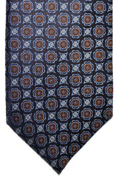 Canali Silk Tie Navy Blue Brown #CanaliTie #Canali #TieDeals