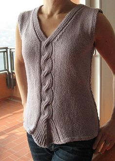 Twisted Rib cable tank pattern by Angela Hahn. Free via http://www.ravelry.com/patterns/library/twisted-rib-cable-tank.