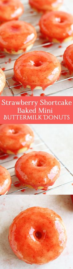 Strawberry Shortcake Baked Mini Buttermilk Donuts - An easy recipe for strawberry shortcake baked mini buttermilk donuts. These delicious glazed strawberry donuts are perfect for breakfast, Valentine' (Creative Baking Ideas) Donut Recipes, Easy Cake Recipes, Brunch Recipes, Dessert Recipes, Delicious Donuts, Delicious Desserts, Yummy Food, Yummy Treats, Homemade Strawberry Shortcake