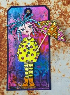 The Dylusions Facebook Challenge by Jan Hill - Don't let the sunshine spoil your rain! So cute