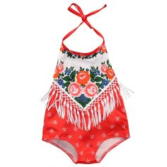 This unique and beautiful romper has bright colors as well as accents of fringe. Size Chart: Size Length Bust*2 Age 70 32 cm 13 cm 0-6 Months 80 33.5 cm 13.5