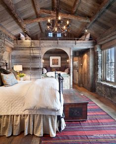 Suburban Men - Dream House - Rustic Design Ideas Photos) - September 2015 SO! THis might be an upstairs in my dream home. Design Rustique, Log Home Interiors, Bedroom Interiors, Bedroom Lamps, Bedroom Furniture, Bedroom Ideas, Furniture Plans, Kids Furniture, System Furniture