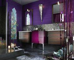 Contemporary reinterpretation of a lavish Moroccan bathroom [Design: Moroccan Design] Moroccan Inspired Bathroom, Bathroom Styling, Beautiful Bathrooms, Dream Shower, Bohemian Bathroom, Eclectic Bathroom Design, Purple Bathrooms Designs, Purple Bathrooms, Modern Bathroom Design
