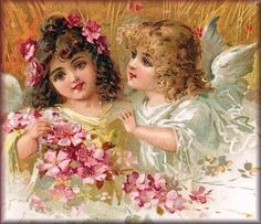summer, two fairies with pink blossom, barley behind Victorian Valentines, Victorian Christmas, Vintage Valentines, Vintage Ephemera, Vintage Cards, Vintage Postcards, Angel Pictures, Art Pictures, Vintage Pictures