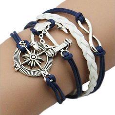 Armband - Damenarmband Anker Infinity Silber Blau Weiß Anhänger Freundschaft #S